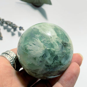 Rainbows Fanned Barite Included Green Fluorite Sphere Carving