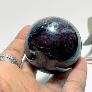 Divine Deep Burgundy Garnet Large Sphere Carving ~ Locality India