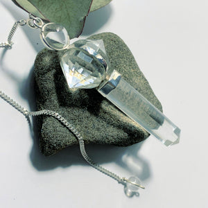 Fascinating Himalayan Quartz Sterling Silver Pendulum On detachable Cord (Can Be Worn)