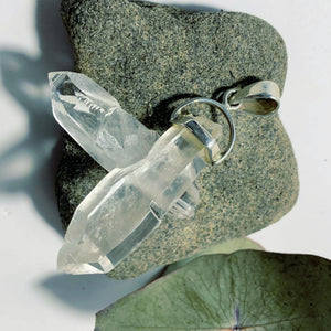 Fascinating Himalayan Quartz Intertwined Points Pendant in Sterling Silver (Includes Silver Chain)