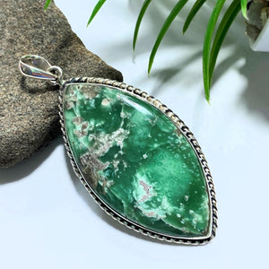 Variscite Big Chunky Sterling Silver Pendant (Includes Silver Chain) #1