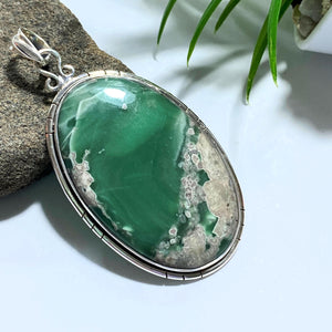 Variscite Big Chunky Sterling Silver Pendant (Includes Silver Chain) #2