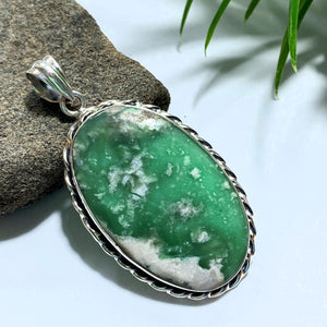 Variscite Large Sterling Silver Pendant (Includes Silver Chain) #3