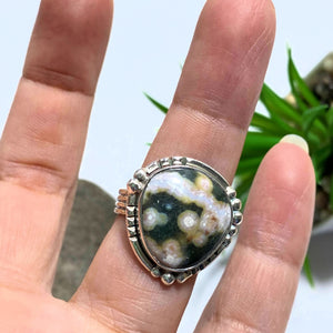 Ocean Jasper Beautiful Patterns Sterling Silver Ring (Size 9)
