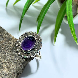 Amethyst Deep Purple Sterling Silver Ring (Size 7)