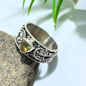 Golden Faceted Citrine Ring in Sterling Silver (Size 9.5)