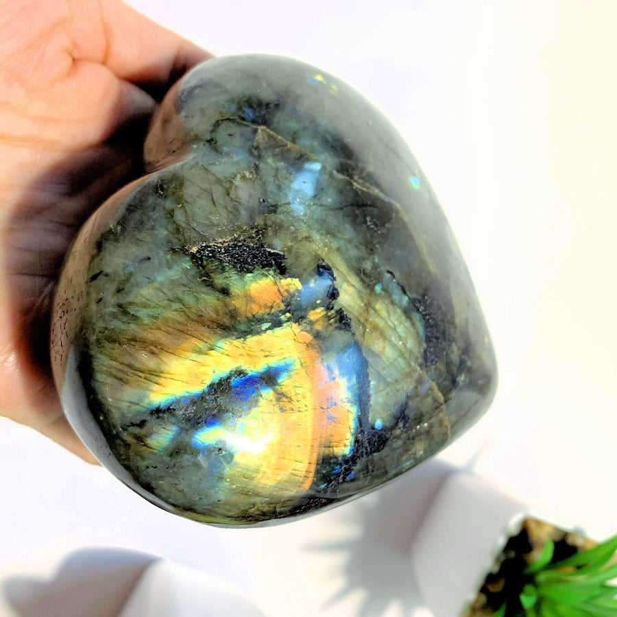 Mysterious Flashes XL  Labradorite Heart Carving From Madagascar