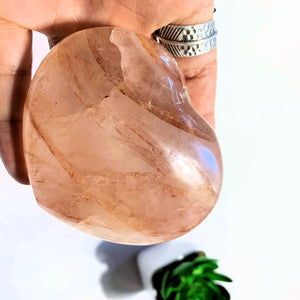 Layered Orange/Red Hematoid Quartz Love Heart Carving