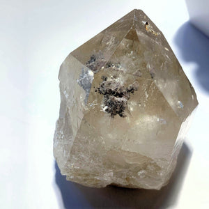 Slightly Smoky Quartz with Chlorite & Shimmering Hematite Inclusions ~Locality Brazil - Earth Family Crystals