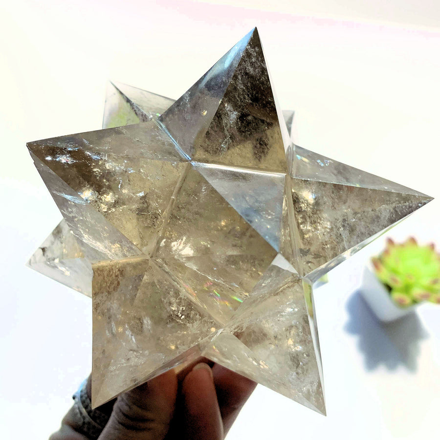 12 Pointed Star Large Double Merkaba (Stellated Dodecahedron) Smoky Quartz Specimen *REDUCED*