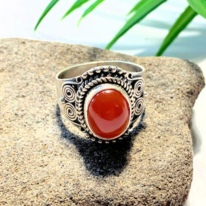 Deep Orange Carnelian Ring in Sterling Silver (Size 6) - Earth Family Crystals