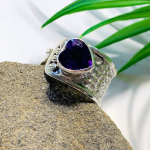 Faceted Deep Purple Amethyst Heart Sterling Silver Ring (Size Adjustable~8.5-9.5)