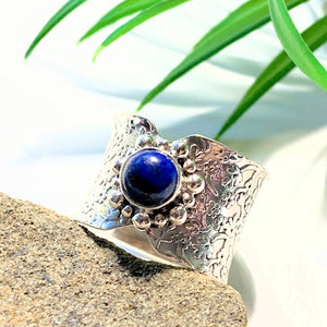 Deep Blue Lapis Lazuli Sterling Silver Ring (Size 7.5) - Earth Family Crystals