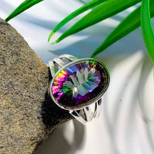 Enchanting Rainbows~ Faceted Mystic Topaz Sterling Silver Ring (Size 7)