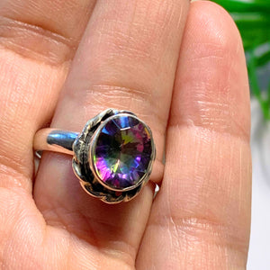 Enchanting Rainbows~ Faceted Mystic Topaz Sterling Silver Ring (Size 9.5)