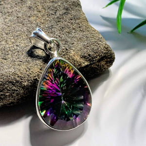 Faceted Mystic Topaz Pendant in Sterling Silver (Includes Silver Chain) REDUCED