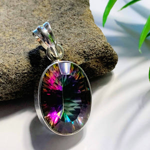 Lovely Faceted Mystic Topaz Pendant in Sterling Silver (Includes Silver Chain)