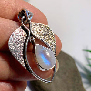 Pretty Teardrop Rainbow Moonstone Sterling Silver Pendant (Includes Silver Chain) #1 - Earth Family Crystals