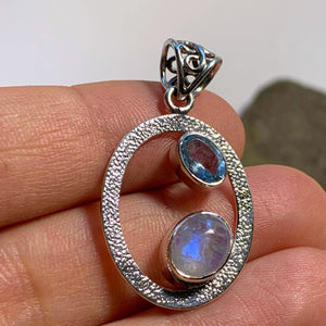 Elegant Faceted Blue Topaz & Rainbow Moonstone Sterling Silver Pendant (Includes Silver Chain)