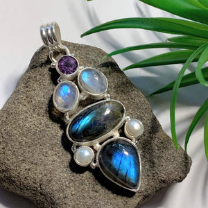 Incredible Faceted Amethyst, Flashy Labradorite,Rainbow Moonstone & Pearl Large Sterling Silver Pendant (Includes Silver Chain)