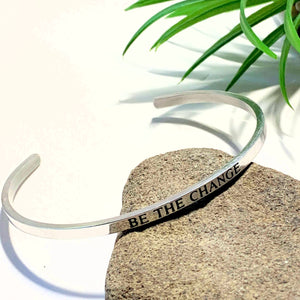 'Be The Change' Stainless Steel Adjustable Cuff Bracelet