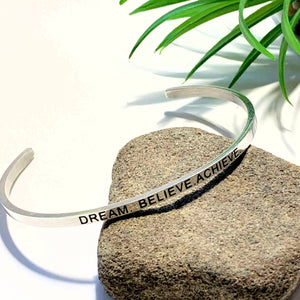 'Dream-Believe-Achieve' Stainless Steel Adjustable Cuff Bracelet