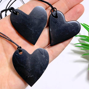 One EMF Protective Shungite Heart on Adjustable Cotton Cord