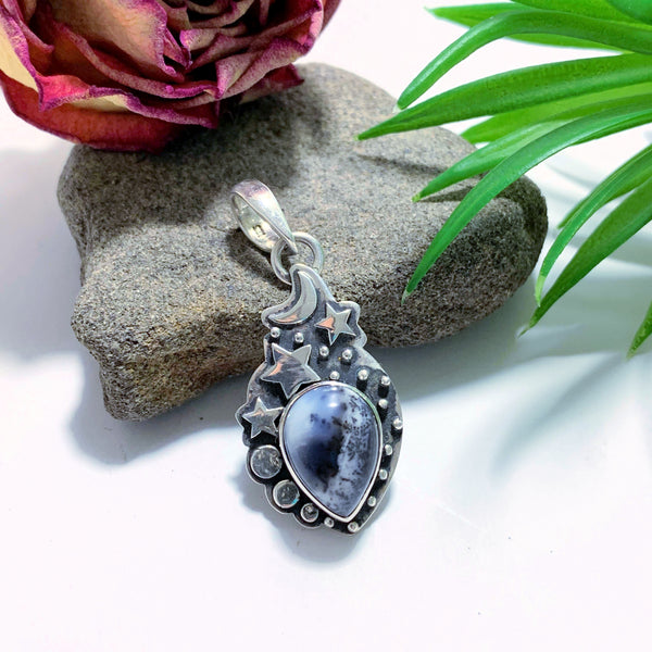 Stunning Dendritic Agate Gemstone Pendant in Sterling Silver (Includes Silver Chain)