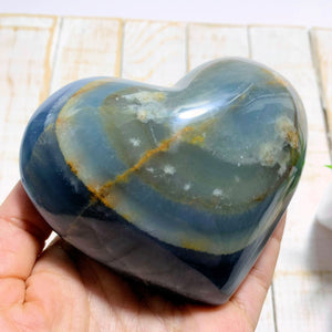 Incredible Patterns~Large Puffy Lemurian Aquatine Blue Calcite Heart~Locality Argentina