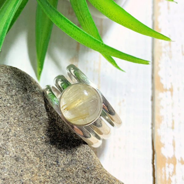 Golden Rutilated Quartz Sterling Silver Ring (Size 7.5) - Earth Family Crystals