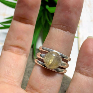 Golden Rutilated Quartz Sterling Silver Ring (Size 7.5)