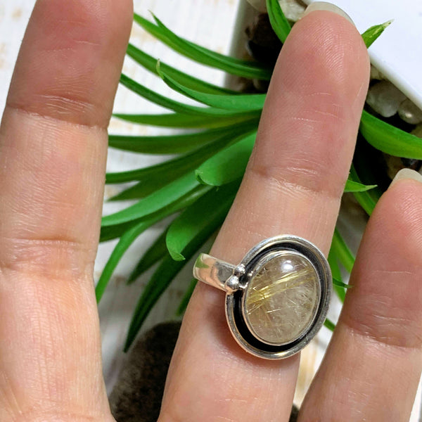 Golden Rutilated Quartz Sterling Silver Ring (Size 7) - Earth Family Crystals