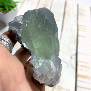 Deep Green Chunky Fluorite & Calcite Specimen From Mexico - Earth Family Crystals