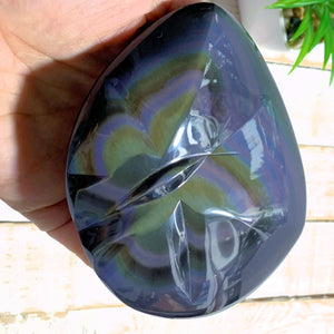 Rare Double Sided Carving~Butterfly & Double Heart Large Rainbow Obsidian Specimen From Mexico