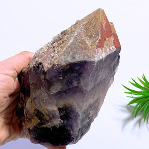 1.3 KG Auralite-23 Standing Point With Red Hematite, Record Keepers, Self Healing & Quartz Druzy From Canada