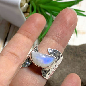 Pretty Royal Blue Rainbow Moonstone Ring in Sterling Silver (Size: 8) - Earth Family Crystals