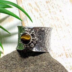 Pretty Golden Glow Tiger Eye Sterling Silver Ring (Size 8.5) - Earth Family Crystals