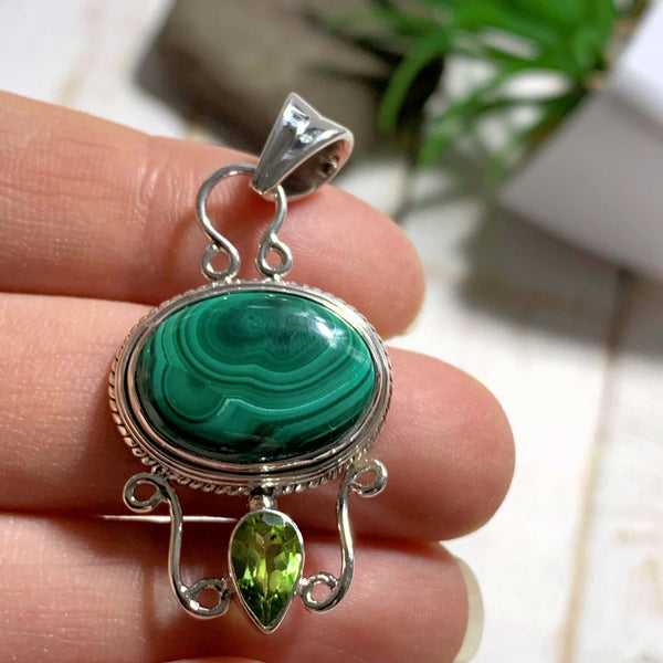 Green Malachite & Faceted Peridot Pendant in Sterling Silver (Includes Silver Chain)