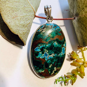 Gorgeous Chrysocolla Pendant with Malachite & Red Cuprite Inclusions in Sterling Silver (Includes Silver Chain) #2