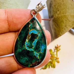 Gorgeous Chrysocolla Pendant with Malachite & Red Cuprite Inclusions in Sterling Silver (Includes Silver Chain) #3
