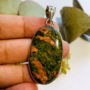 Salmon Pink & Forest Green Unakite Sterling Silver Pendant (Includes Silver Chain)