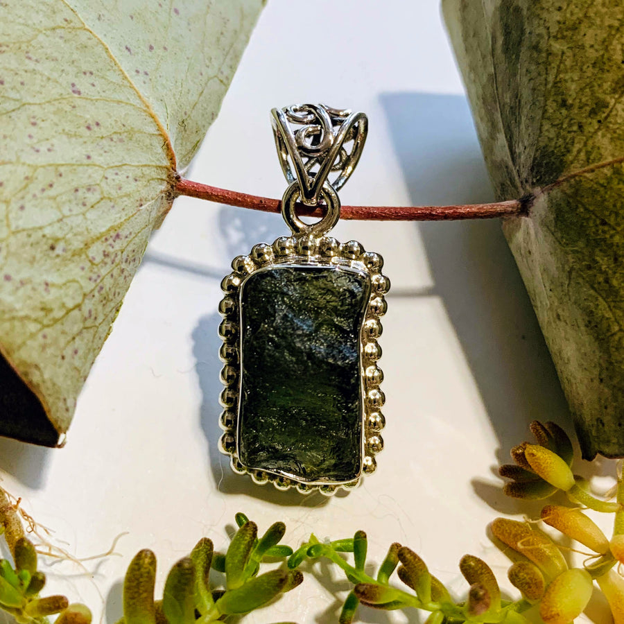 Genuine Deep Green Raw Moldavite Pendant In Sterling Silver (Includes Silver Chain) #1