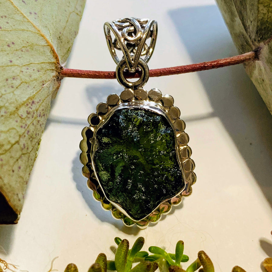 Genuine Deep Green Raw Moldavite Pendant In Sterling Silver (Includes Silver Chain) #2