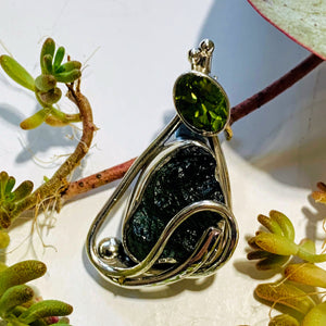 Genuine Deep Green Raw Moldavite & Faceted Peridot Pendant In Sterling Silver (Includes Silver Chain) #3
