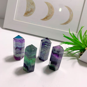 One Vibrant Rainbow Fluorite Standing Point Carving -Ideal For Crystal Grids