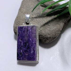 Deep Purple Charoite Pendant In Sterling Silver (Includes Silver Chain) *REDUCED*