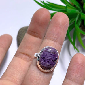 Silky Purple Charoite Ring in Sterling Silver (Size 6)