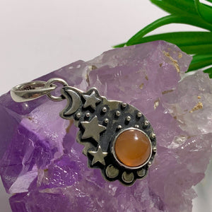 Jelly Orange Moonstone Pendant in Antique Style Sterling Silver (Includes Silver Chain)