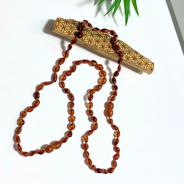 One Lithuanian Cognac Baltic Amber Double Clasp Long Adult Necklace
