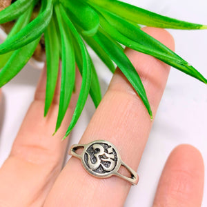 OM Ring In Sterling Silver (Size 7.5)